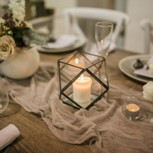 Tarnished Silver Black Geometric Candle Holders